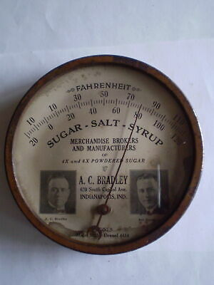 """Vintage Rare 1920'S  Advertising 6"""" Round Thermometer Sign A.c. Bradley Co."""