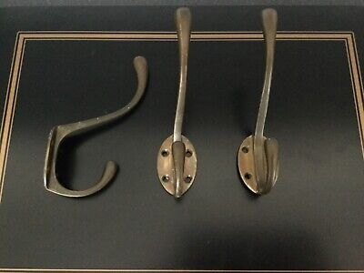 6 x Vintage Reclaimed Solid Brass Matching Coat Hooks