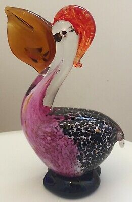 BEAUTIFUL MURANO ART GLASS PELICAN Bird FIGURINE WITH FISH IN MOUTH 7.5""