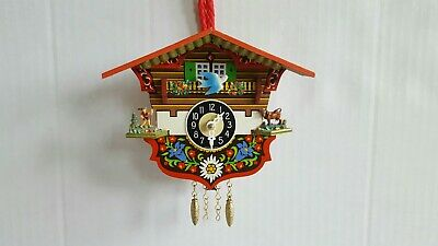 German Black Forest Mini Cuckoo Clock Chalet House with Bird and Deer Ship Fast