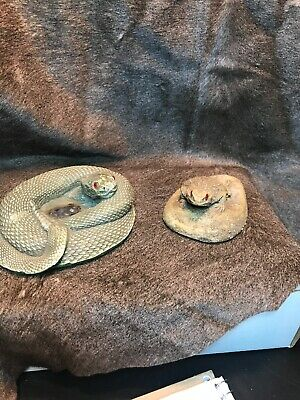 Vintage Snake Ashtray With Lizard Accessory Rest.