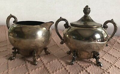 Antique Sheridan Ornate Silverplate On Copper Lidded Sugar And Creamer