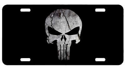 Punisher Skull Craked Rock Stone , License Plate New Car Tag Metal Aluminium