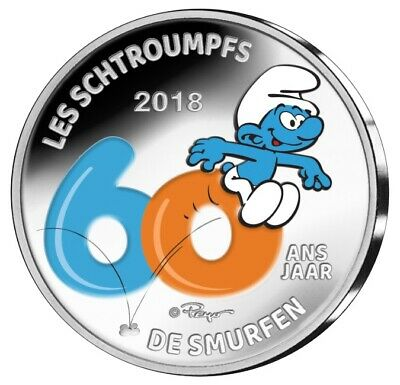 Belgium 2018 Proof Silver - the Smurfs/from Smurfen (Coloured Reverse)