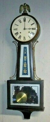 """New Haven Waring 8 Day Antique Banjo Wall Clock Clean Working Large 36"""" Tall"""