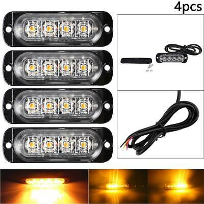 4x 4 LED Amber Recovery Strobe Flashing Grille Light Lightbar Truck Beacon Lamp