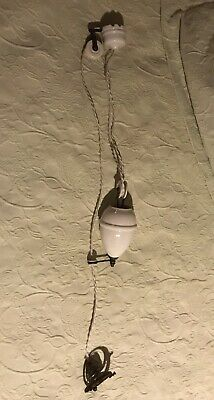 French Pendant Lamp Vintage Up-down Pulley Chandelier Fixtures White Ceramic