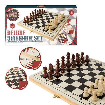 Deluxe 3-in-1 Game Set with Folding Board - Backgammon, Drafts and Chess