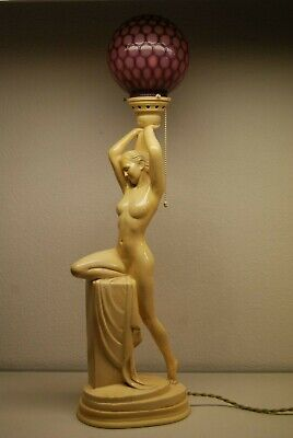 Antique Art Deco Nouveau French Austrian Glass Shade Figural Erotic Art Lamp