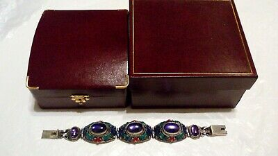 COLLECTIBLE Antique Chinese Export AMETHYST Cabochon & ENAMEL Silver Bracelet***