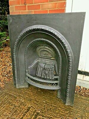 Victorian Cast Iron Fireplace Insert Arched Ornate Open Fire Delivery To 50m