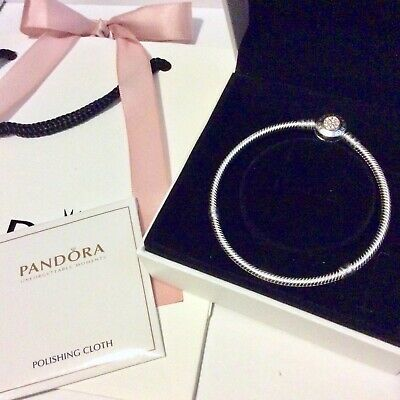 NEW Pandora Signature Two Tone Clasp with 14ct Gold Silver Moments Bracelet 19cm