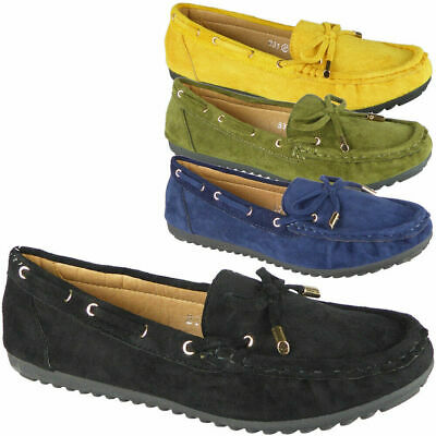 Ladies Loafers Shoes Womens Pumps Comfy Slip On Work Office Boat Flats School Sz