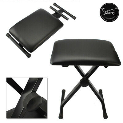 Glarry Height Adjustable Leather Piano Bench Storage Keyboard Stool Padded Seat