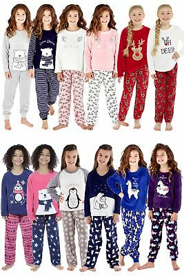 Girls Kids Soft Fleece Twosie Pyjamas PJs Set Various Animal Designs 3-13 Years