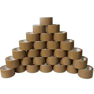 """36 ROLLS OF BUFF BROWN PACKING PACKAGING PARCEL TAPE 48MM x 66M (2"""") SELLOTAPE"""