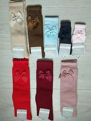 Quality Romany Spanish Girls Knee High Bow Socks by Dolce Petit Age 0 to Age 12