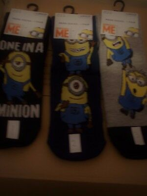 Mens Minion Despicable Me Character Ankle Socks Novelty Gift Dad Size 6-11