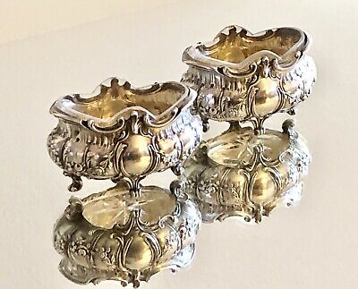 Antique French Sterling Silver And Crystal Salt & Pepper Set
