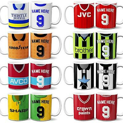 Retro Football Shirt Mug Cup Dad Christmas Gift Vintage Personalised - ALL TEAMS