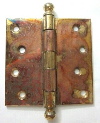 "1 Antique McKinney 4"" Square Hinge Ball Tips Finials Brass Plated Mortise Door"