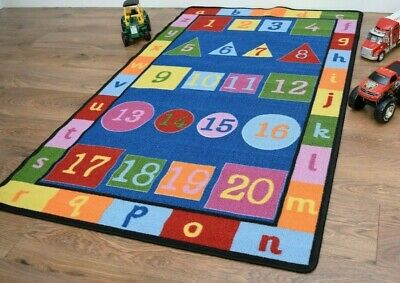 Large Small Boys Girls Kids Rugs Mats Numbers Letters Alphabet Bright School