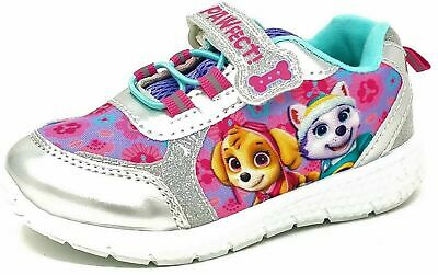 Girls Official Paw Patrol Pink Silver Glitter Jogging Trainers Shoes Size 5-10