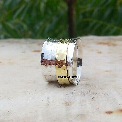 925 Sterling Silver Spinner Ring Wide Band Meditation Statement Jewelry A427