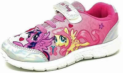 Girls Official My Little Pony Pink Silver Jogging Trainers Shoes Size 6-12