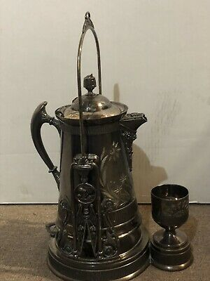 1890's Victorian Silver Plate Tilting Water Pitcher with Goblet and Stand