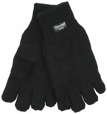 Mens Thermal Thinsulate Knitted Fleece Lined Fingerless Gloves GL131 - Black