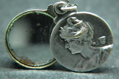 Lovely Antique Art Nouveau French Miniature Mirror Pendant/Charm -Signed-