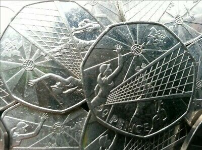 Olympic 50p. London 2012. VOLLEYBALL. Volley Ball. Fifty pence. Circulated.