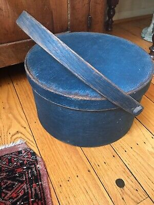 Stunning Antique Large Pantry Box Wood Swing Handle Original Blue Paint