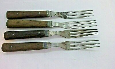 4 Civil War Era three prong forks wooden handle