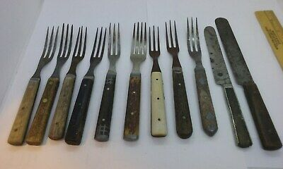 11 pc. mixed lot Antique & Civil War Era three prong forks knives wooden handle