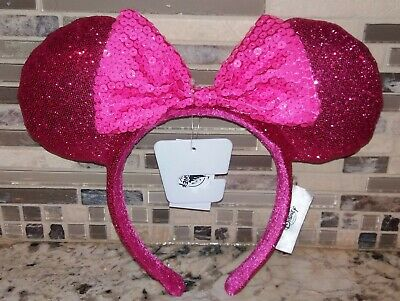 Disney Parks Minnie Mouse Sequin Bow Ears Imagination Hot Pink 2019 Headband NWT