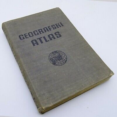 Old Book with Maps Geographic Atlas Geografski Atlas 1951