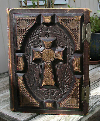 antique c1875 Catholic family Bible Douay Rheims brass clasps  **very nice**