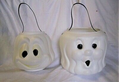 (2) Vintage Halloween Candy Pail Bucket Blow Mold Ghost Goblin