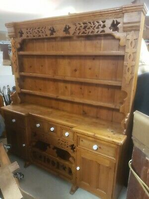 A Great Large  Vintage 2 Piece Hutch Detailed With Birds  As Pictured
