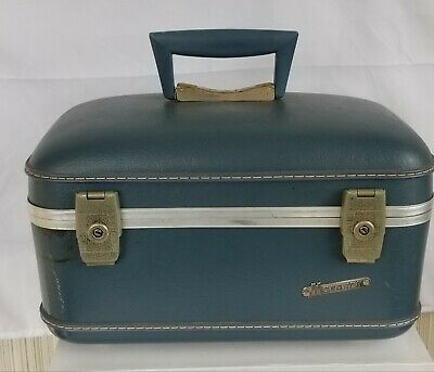 Vintage Blue Monarch Train Case Suitcase Cosmetic Luggage with Mirror & Keys