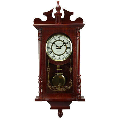 New Bedford Collection 25 Inch Wall Clock with Pendulum and Chime in Dark Redwoo