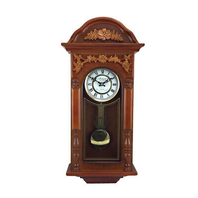New Bedford Clock Collection 27.5 Inch Oak Finish Pendulum Wall Clock