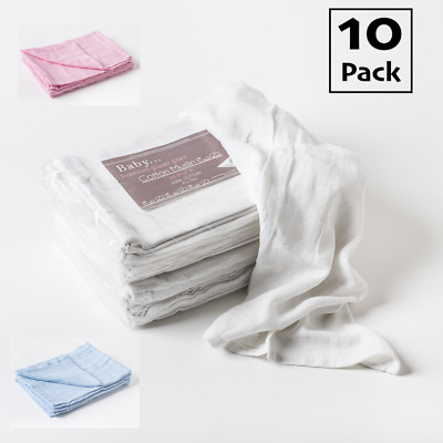 10x Muslin Squares Baby Muslins Cloths Nappy Inserts 100% Soft Cotton Bibs 70cm