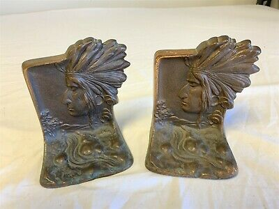 1935 Native American Indian Chief Head Solid Bronze Bookends Usa Signed Ronson
