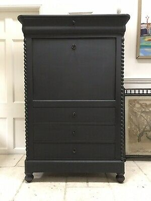 Antique Victorian Black Painted Secretaire Bureau Desk Chest Of Drawers Lockable