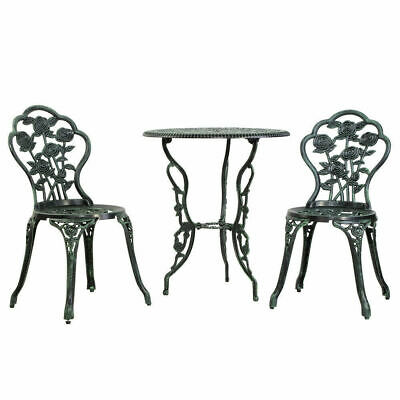 Gardeon Vintage Appeal Outdoor 3-piece Table & Chairs Aluminium Bistro Set Green