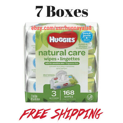7Boxes - HUGGIES Natural Care Baby Wipes, Sensitive, 3 packs of 56, 168 Ct