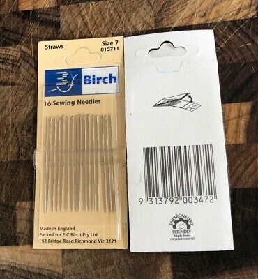 Birch Straws sewing needles, 16 needles. size 7. new unused